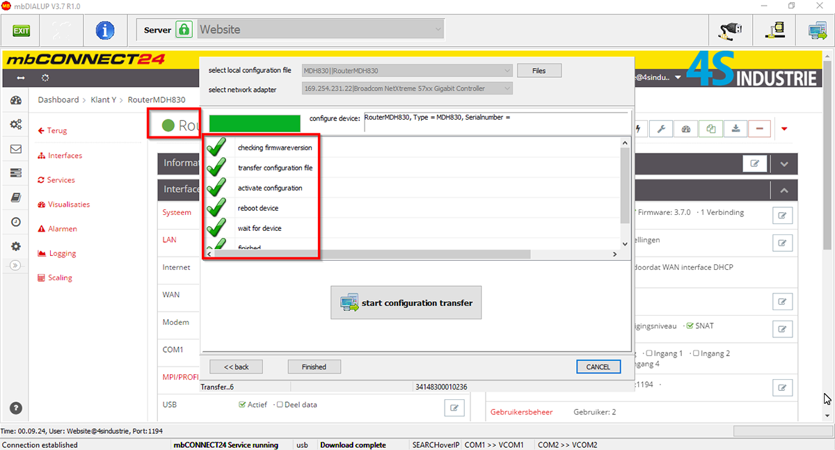 Applicaties mbCONNECT24 - Configuratie geladen router online